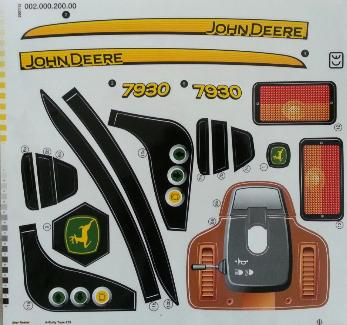 Stickervel voor RollyToys John Deere 7930 Farmtrac (700028, 710126, 710032)